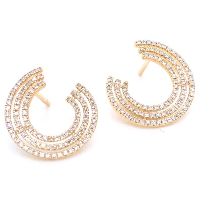 14 Karat Yellow Gold 3 Row Swirl Diamond Earrings