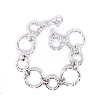 Sterling Silver Alternating Circles Bracelet