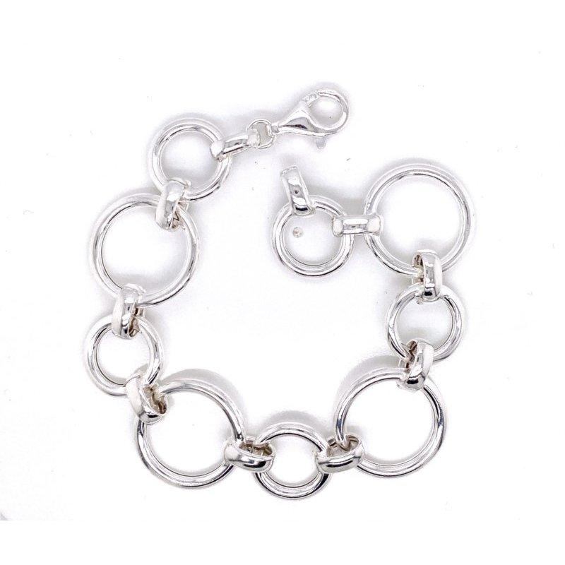 Sterling Silver Alternating Circles Bracelet