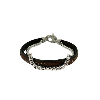 2 Cord Black Leather and Link Bracelet