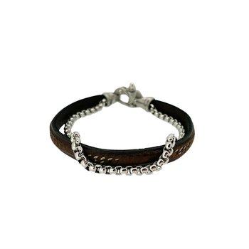 2 Cord Black Leather and Link Bracelet