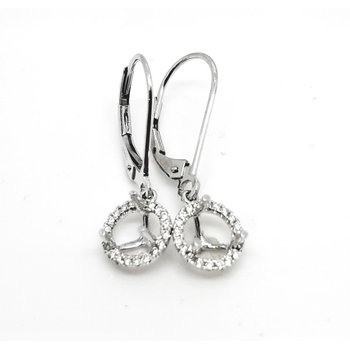 White Gold Halo Drop Earrings