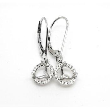 White Gold Halo Drop Earrings