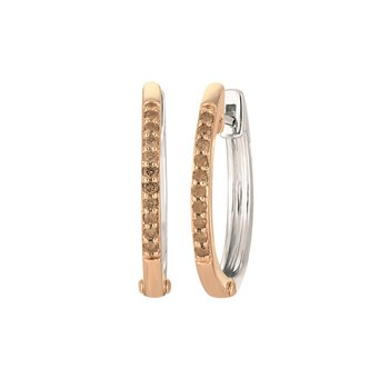Sterling Silver and Rose Hoop Earrings With Brown Diamonds