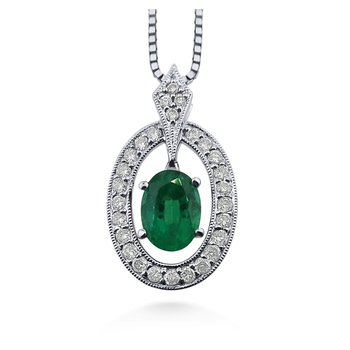 18 Karat Vibrant Emerald and Diamond Pendant