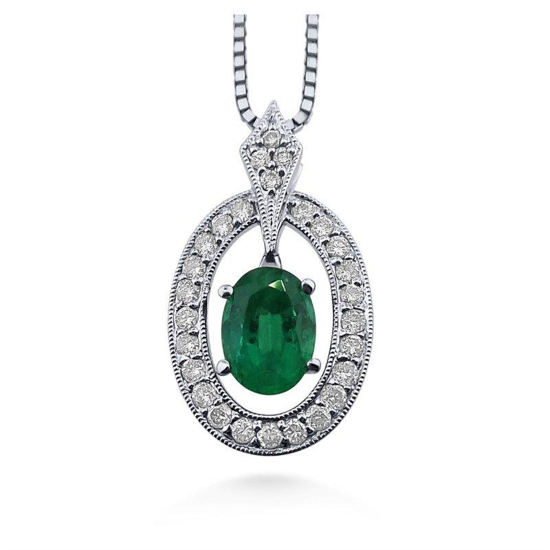 18 Karat Vibrant Emerald and Diamond Pendant
