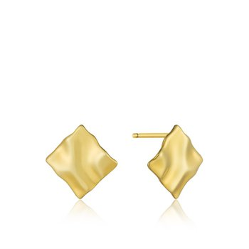 Yellow Sterling Silver Metal Crush Mini Square Studs Earrings