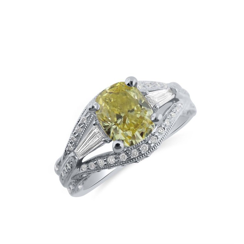 Fancy Intense Yellow Oval Diamond set with Cool Round and Baguette Diamonds