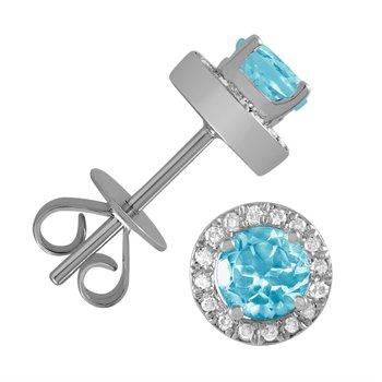 5 mm Blue Topaz Stud Earrings With Diamond Halo