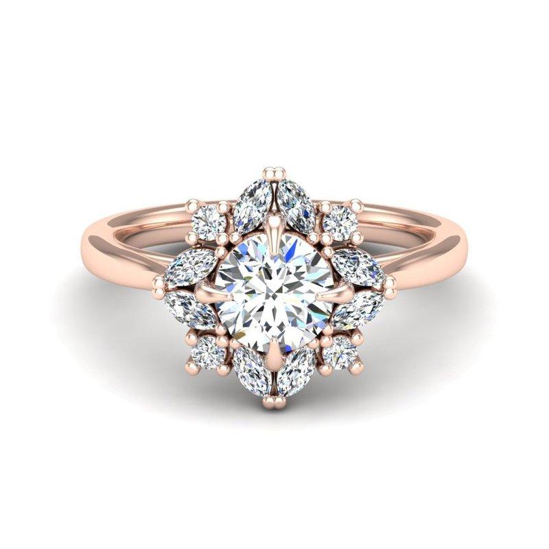 14 Karat Marquise and Round Diamond Ring Mounting