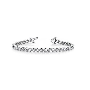 Bright and Wearable 14 Kt Tennis Bracelet With Diamonds