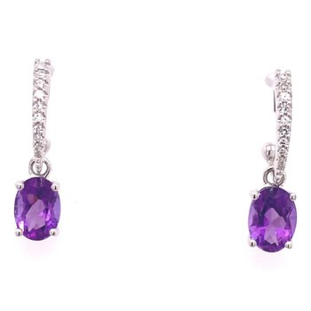 14 karat White Gold Amethyst and Diamond Earrings