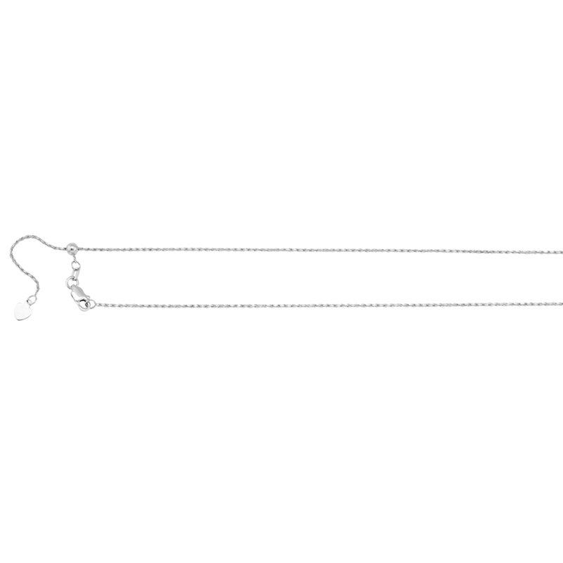 White 14 Karat Diamond Cut Adjustable Rope Necklace Length 26