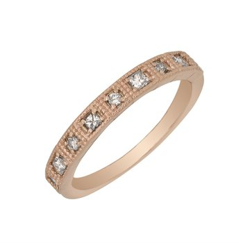 10 Karat Rose Gold Filigree Diamond Band