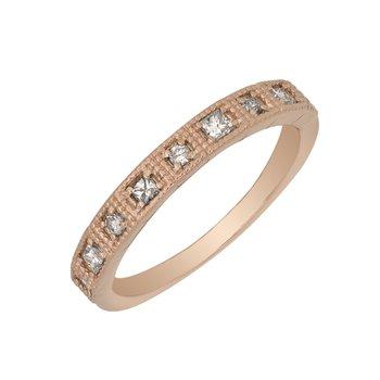 10 Karat Rose Gold Filigree Diamond Band