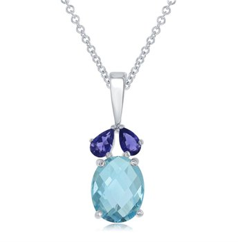 Sterling Silver Pear Shaped Pendant with Pastel Blue Stones