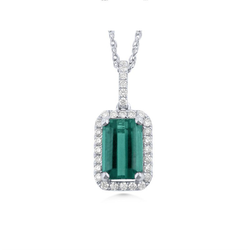 Colorful  Blue Green Tourmaline Pendant With Diamonds