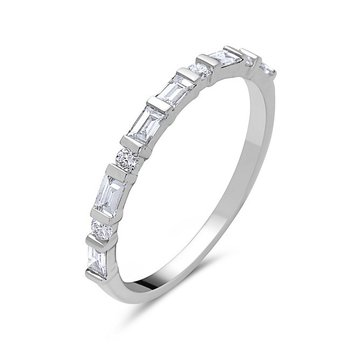 18 Karat White Gold  Band with Baguette and Round Diamond Band