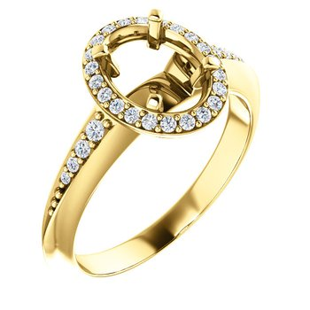 Yellow Gold Millgrain Detail Halo Ring With Diamonds