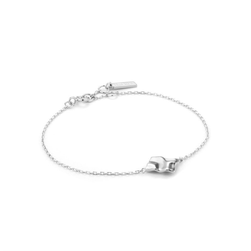 Sterling Silver Metal Crush Square Bracelet
