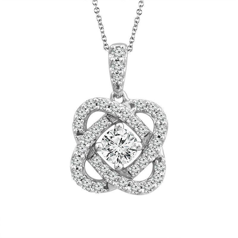 "10 Karat White Gold Diamond ""Love Knot"" Pendant"