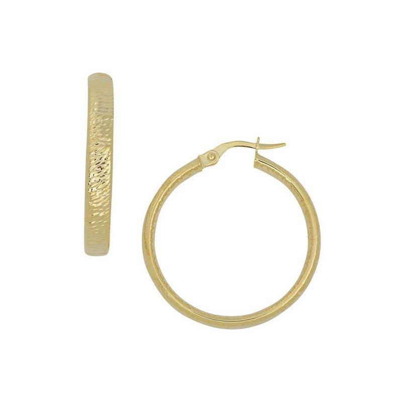 14 Karat Yellow Gold Flat Hammered Hoop Earrings