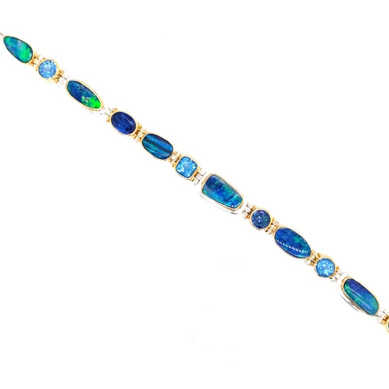 Enchanting Blues and Opal Natural Gemstone Bracelet