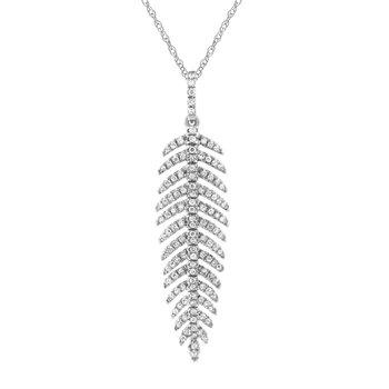 Flowing Diamond Leaf Pendant
