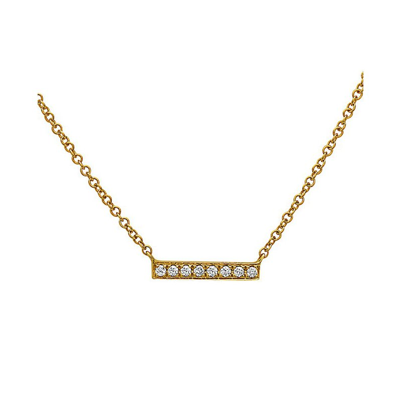 Yellow Gold Diamond Bar Pendant
