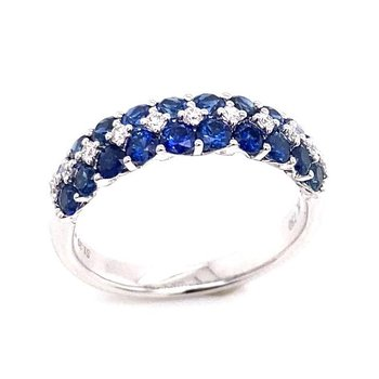 White Gold Three Row Sapphire and Diamond Ring