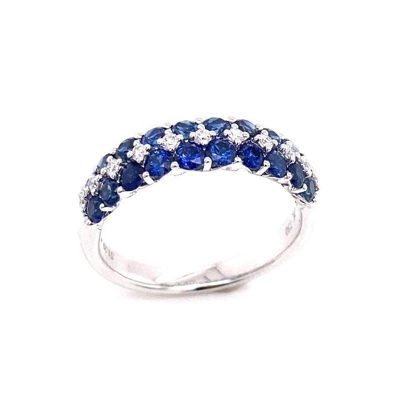 White Gold Three Row Sapphire and Diamond Ring