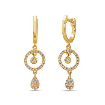 14 kt Yellow Gold Pave Diamond Drop Earrings