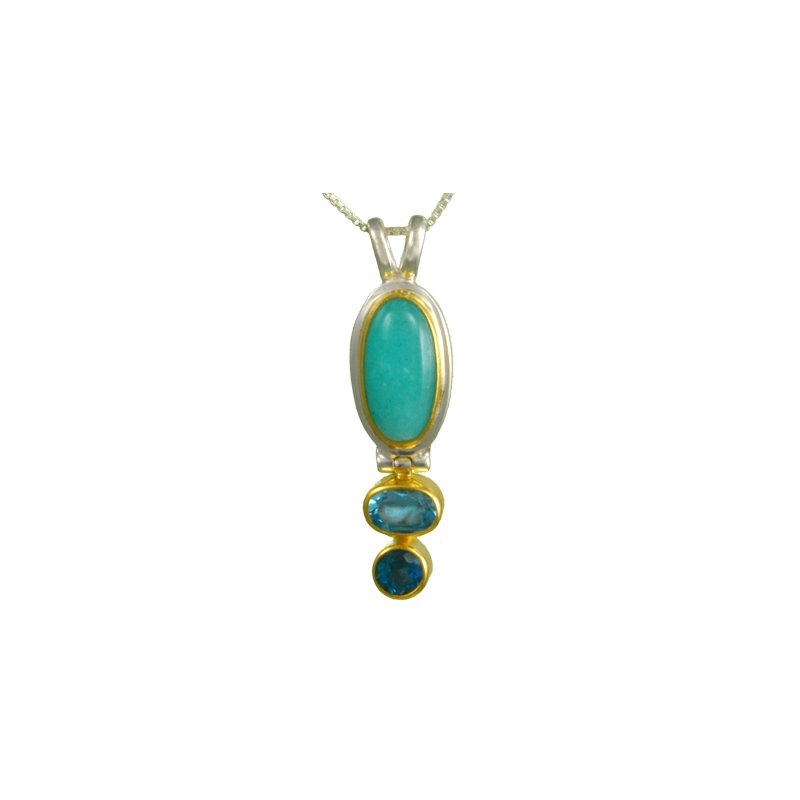 Sterling Silver Pendant with Natural Colored Gemstones