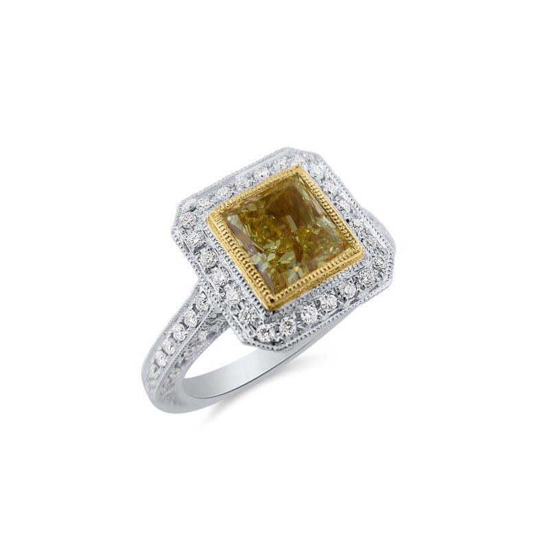 Impressive Natural Colored Diamond Princess Cut Halo Engagement Ring
