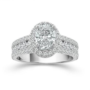 Elegant Oval Shape Engagement Ring With Diamond Halo