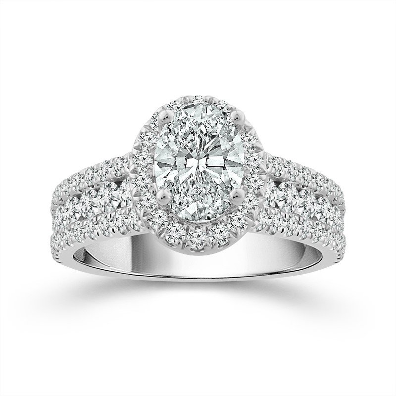 Elegant Oval Shape Engagement Ring With Diamond Halo