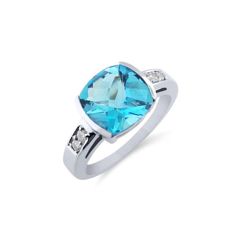 White Gold Diamond and Blue Topaz Ring