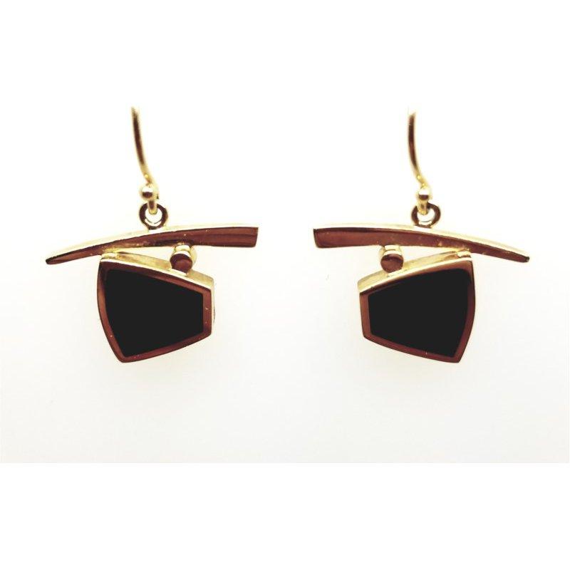 14kt Yellow Gold Black Jade Earrings
