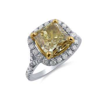 Natuiral Fancy Brownish Yellow 2 carat Diamond with Halo Ring