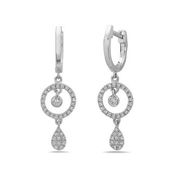Stunning White Gold Diamond Drop Earrings