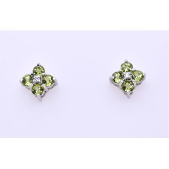 14 Kt Earrings With Round Peridots And Round Diamonds