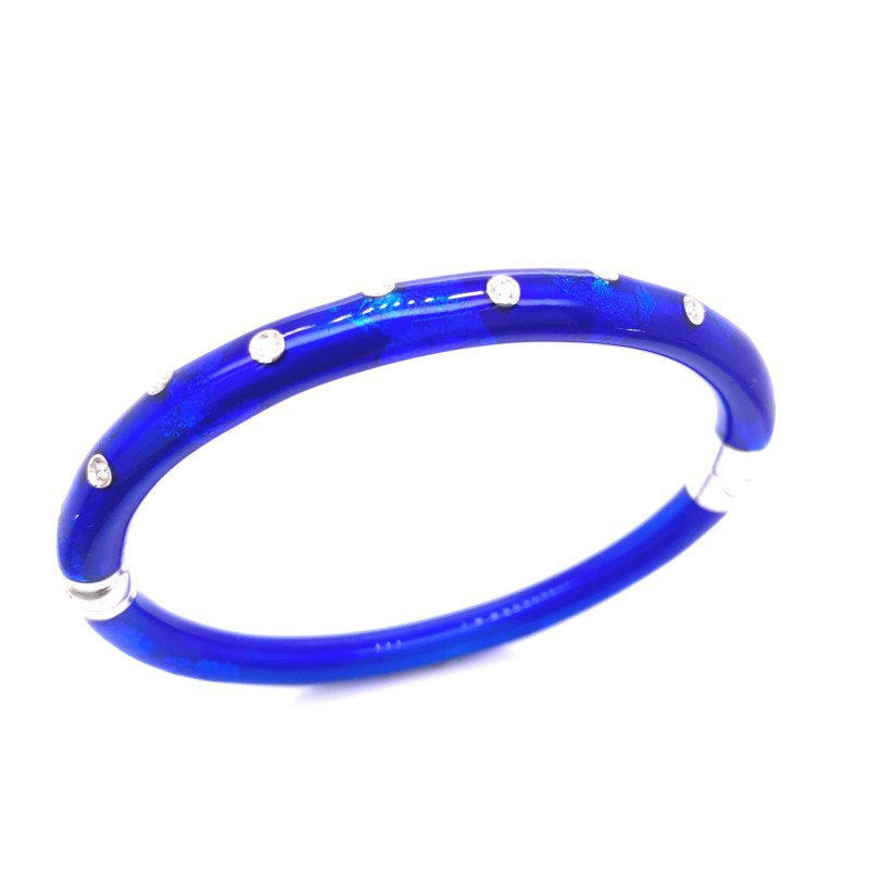 5 mm Cobalt Sterling Silver Bangle Bracelet With 10=0.12Tw Round Diamonds