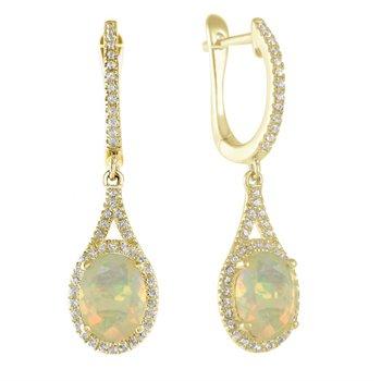 Elegant Opal and Diamond Drop Earrings