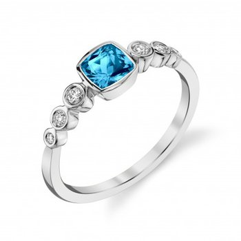 White 14 Karat Ring with Vibrant Blue Zircon and Diamonds