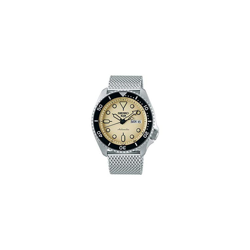 Stainless Steel White and Black Automatic Seiko Watch