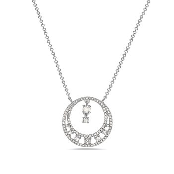 14 Karat White Gold Diamond Circle Pendant