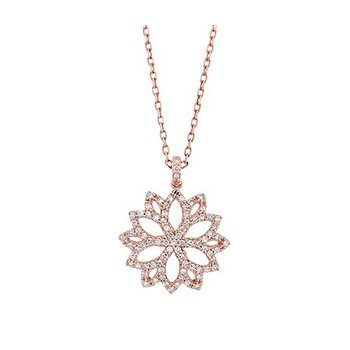 14 Karat Rose Gold Flower Inspired Diamond Pendant