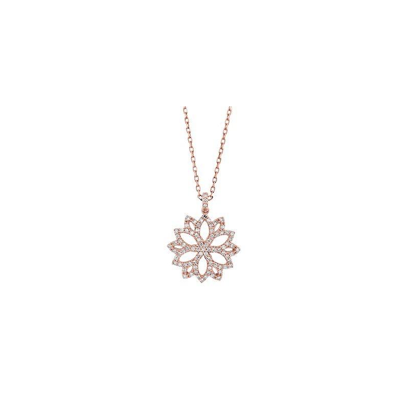 14 Karat Rose Gold Flower Inspired Diamond Pendant