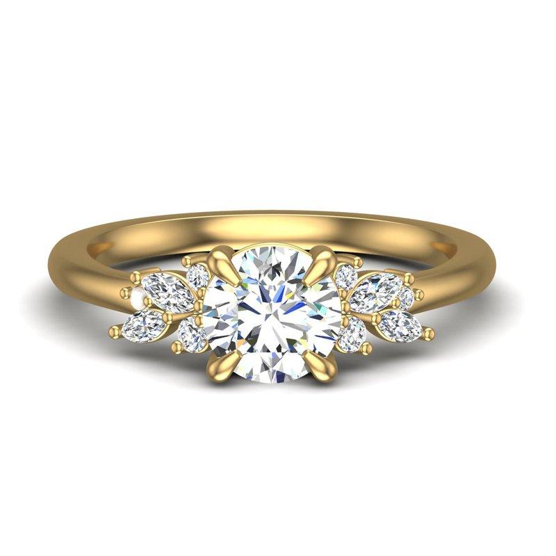14 Karat Marquise an Round Diamond Set Ring Mounting