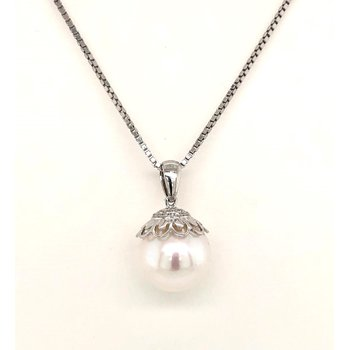 14 Karat White Gold Fresh Water Pearl Pendant